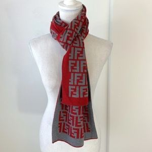 Fendi Red & Gray Wool Scarf Made in Italy {MS}